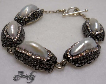 CZ Pearl Princess Riviere Bracelet