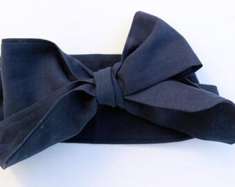 Navy Blue Head Wrap, Bow