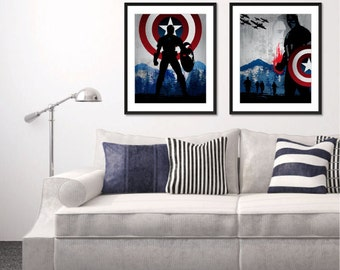 Avengers Captain America Poster. Navy Gray Red Pop Culture and Modern Home Wall Decor Art. Gift For Him. Set of 2 Prints. Item No.: 038
