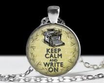 Keep Calm Jewelry Keep Calm Write On Pendant Wearable Pendant Charm Typewriter Jewelry