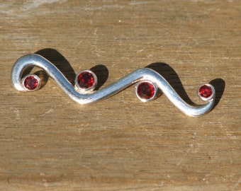 Garnet Silver Pendant, Jewellery, Red, Faceted Stones, Semi Precious