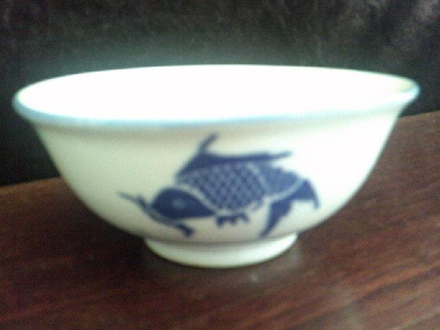 Rice bowl blue koi carp made in china for Koi viewing bowl