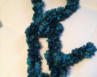 Turquoise Ruffled Sparkly Scarf