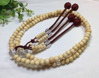 Juzu japanese nenju,High quality white natural wood,quartz stone giant beads,with maroon tassel balls