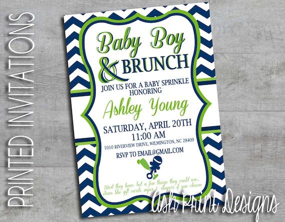 baby boy brunch baby shower invitation