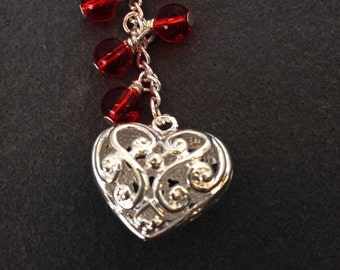 Ornate Silver Heart & Red Beaded Bag/Purse Charm, Valentine's Day, Gift for Her