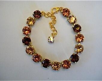 Swarovski Crystal Topaz Tennis Bracelet, 8mm topaz tennis bracelet, crystal bracelet, bridesmaid bracelet, tennis bracelet, brown crystal