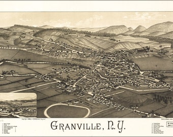 24x36 Poster; Map Of Granville, New York 1886
