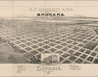 24x36 Poster; Map Of Guthrie, Oklahoma, Indian Territory, 1890