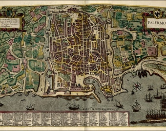 24x36 Poster; Map Of Palermo Italy 1612