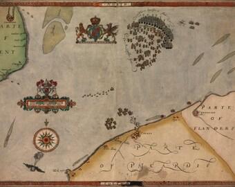 24x36 Poster; Spanish Armada Map Sir Francis Drake 1590 P3