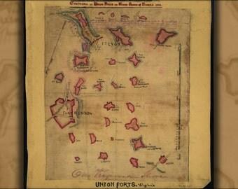 24x36 Poster; Union Fort Contours South Side Potomac River 1862