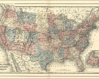 24x36 Poster; 1878 Map Of The United States Of America