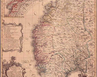 24x36 Poster; Map Of Norway From 1761