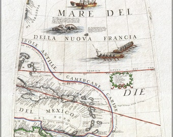 24x36 Poster; 1688 Coronelli Globe Gore Map Of Ne North America, The West Indies, And Ne South America