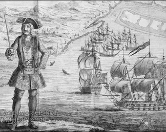 24x36 Poster; Black Bart Bartholomew Roberts At Ouidah With His Ship And Captured Merchantmen In The Background