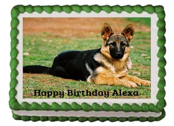 German Shepherd Dog Puppy Edible Birthday Party Cake Cupcake