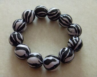 Animal Print Beaded Bracelet Zebra Decoupaged Beads on Stretch Cord