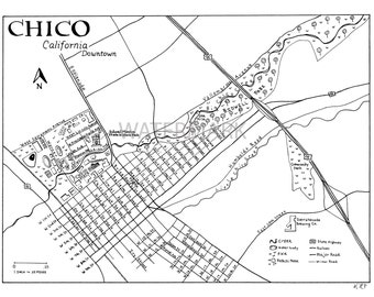 Downtown Chico, California Hand Drawn Map