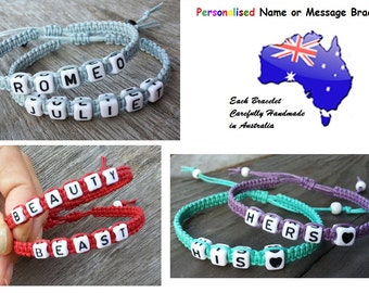 1 x Personalized Name Friendship Couple Bracelet