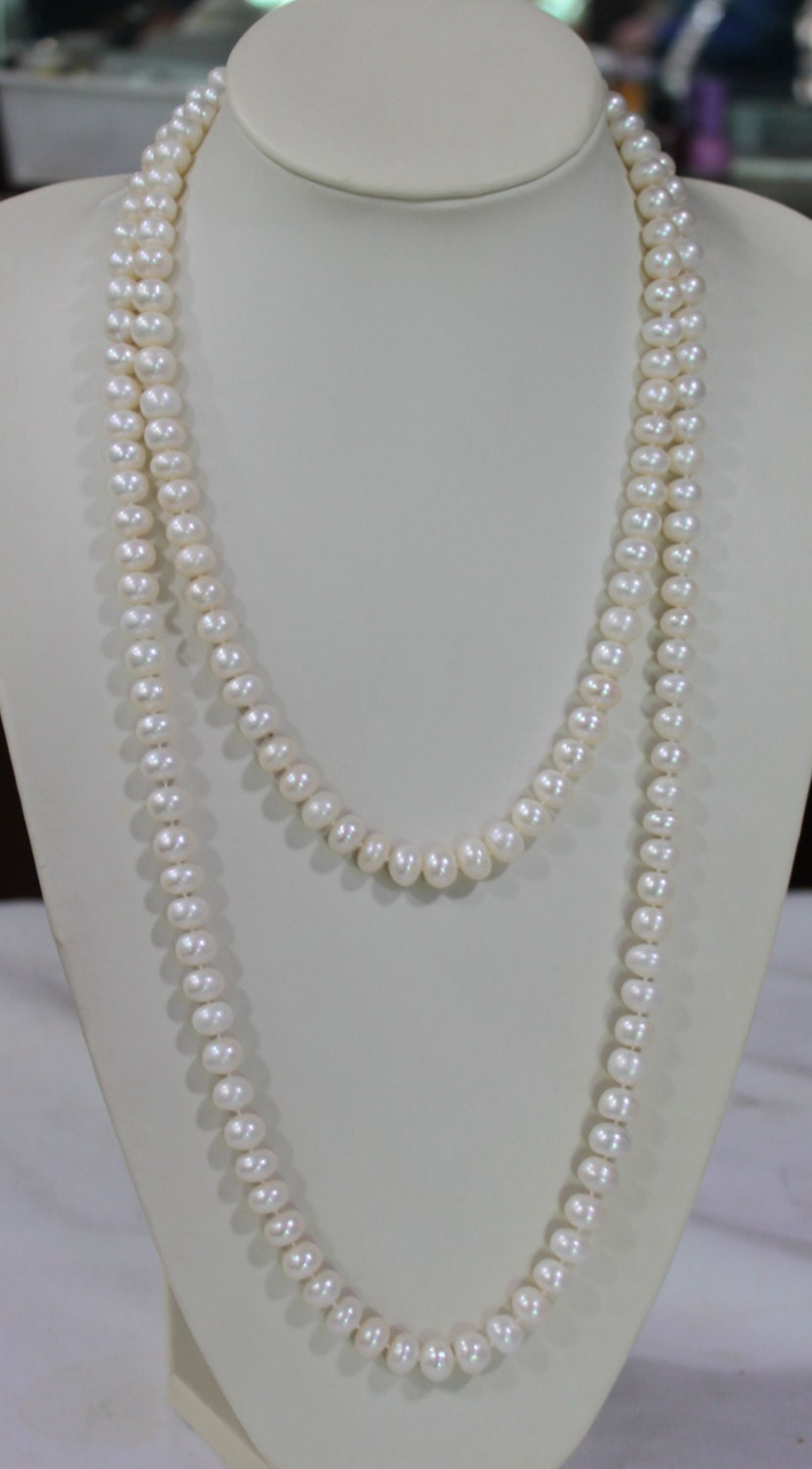 long pearl necklace 60 inches 7 8mm freshwater pearl