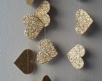 Gold Lux Heart Paper Garland