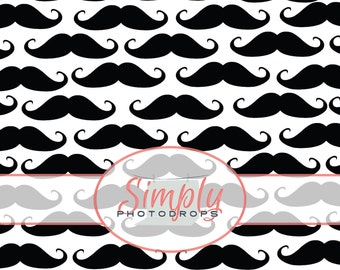 BLACK MUSTACHES with WHITE vinyl Photography Backdrop