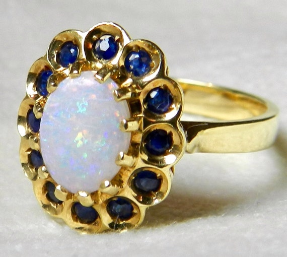 Opal Engagement Ring Opal Halo Ring Antique Engagement