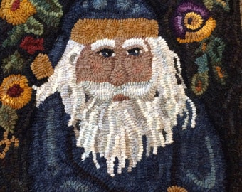 This original rug hooking pattern has been made into a Christmas rug. Santa can be  a hooked rug on the wall or floor. A Folk Art original .