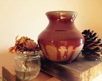 Handmade deep red ceramic vase