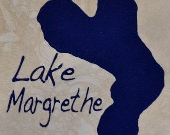 """Set of 4 """"Lake Margrethe"""" Coasters.  Free Shipping"""