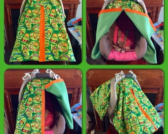 Handmade Heavyweight Teenage Mutant Ninja Turtles Baby Car Seat Cover/Canopy!!