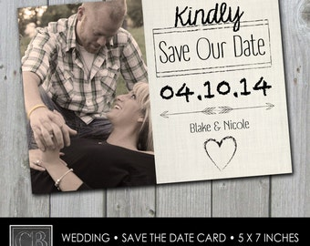 CUSTOMIZED photo WEDDING save the date card 5 x7 - printable DIGITAL file