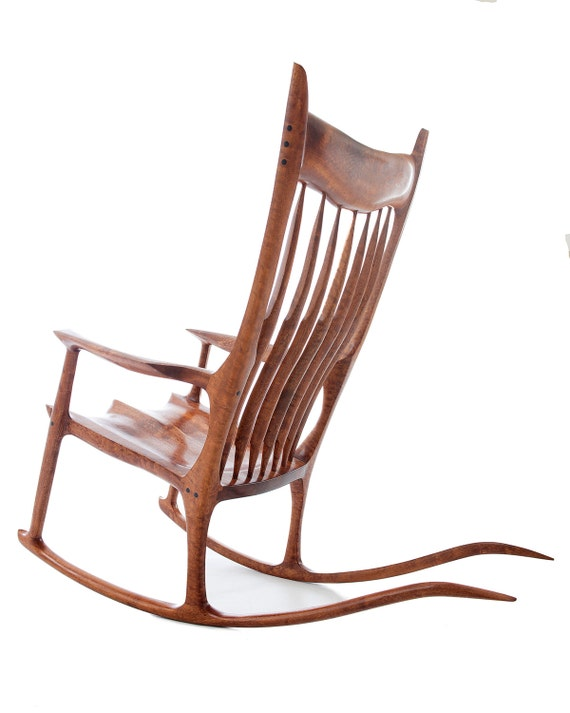 Maloof style rocking chair for Chaise bercante en bois