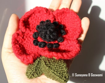 Flower Brooch, Red Poppy Brooch, Knitted Brooch, Handmade Brooch, Poppy, Knitted Flower Brooch, Handmade Flower Brooch