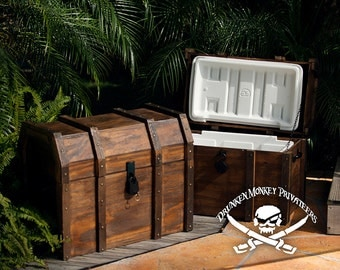 Large Pirate Ice Chest, Pirate Cooler, Pirate Chest, Ice Chest, Igloo, Treasure Chest, Handmade.