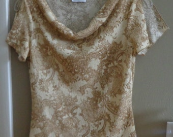 Charlotte Russe Beige Cowl Neck Top Juniors Size Small / S