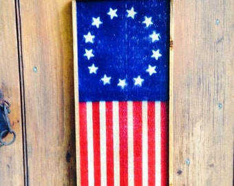 Hand crafted Folk Art American Flags