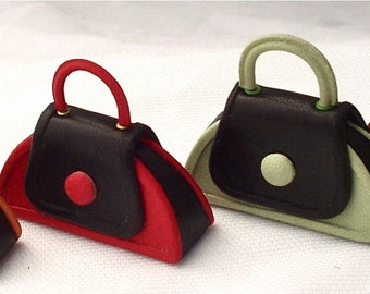 "funny  ""the 60s""  leather handbag handmade 1/12 scale"