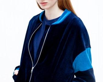 Blouson bleu marine / Bombardier velours bio veste / surdimensionné ladies blouson / blouson dames
