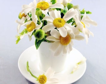 Home Decor - Cup with Chamomile - Handmade Flower Floral Decoration Ornament - Cold porcelain