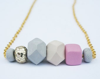 Pink and Gold Geo Necklace, Modern  jewelry, Chic Jewelry, Geometric Statement Necklace