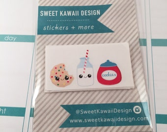 24 Kawaii Cookies and Milk Stickers