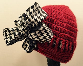 Alabama Beanie with Hounds Tooth Ribbon