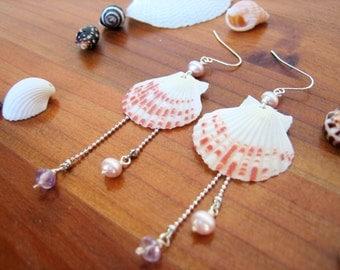 Scallop Shell Earrings, Seashell Earrings, Dangle Earrings, Beach Jewelry