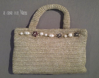Preziosa borsetta da sera all'uncinetto - handbag gold - Handbag crocheted evening - fatta a mano - fatta in Italia