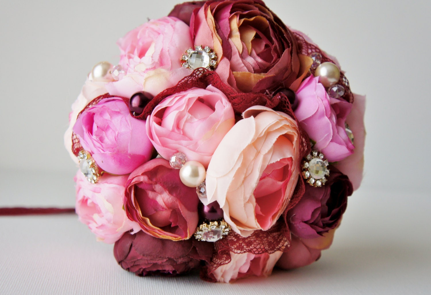 Custom Wedding Accessories: Bridal Bouquet, Brooch Bouquet, Pink and ...