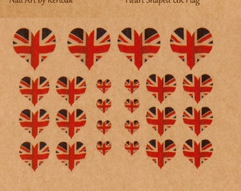 Union Jack Nail Art Stickers, United Kingdom Heart Shaped Flag Nail Art, UK Nailart, finger nail art,  decals, fun to wear,  ***See Note**