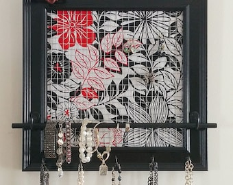 Handmade Jewelry Organizer, Black, White & Red Floral with Rustic Key Knob and 5 Black Hooks