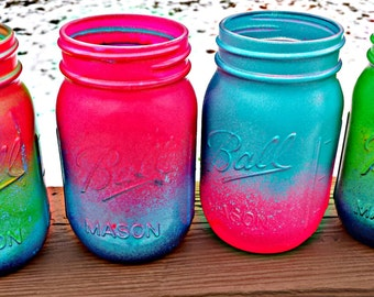 hand painted neon ombre mason jars